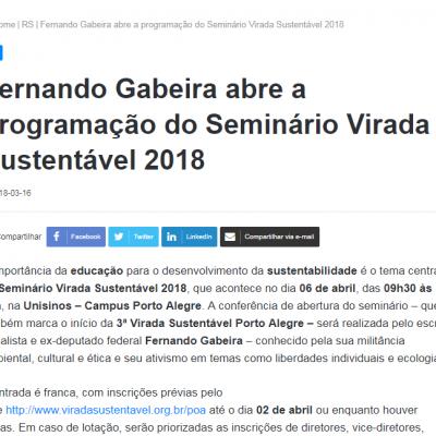 Fernando Gabeira abre a programação do Seminário Virada Sustentável 2018